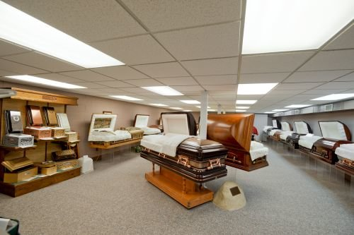 An interior selection room photo of Pilon Family Funeral Home.
