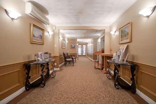 An interior hallway photo of Pilon Family Funeral Home.